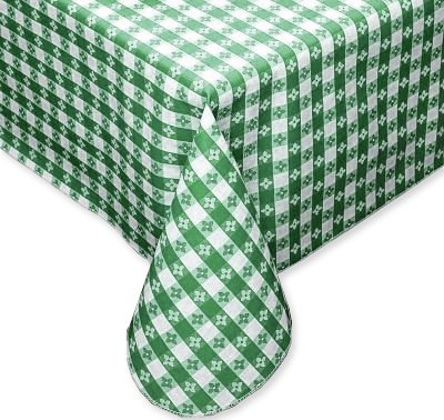Tavern Checks Green Vinyl Tablecloth