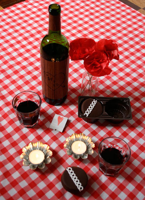 wine on checkered tablecloth