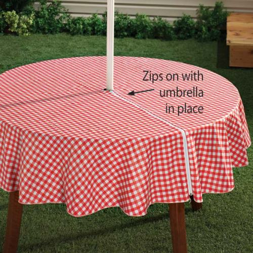 Patio Umbrella Covers With Zipper: Fitted Vinyl Tablecloths
