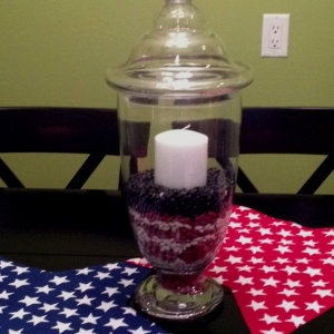 Red White and Blue Candle Centerpiece