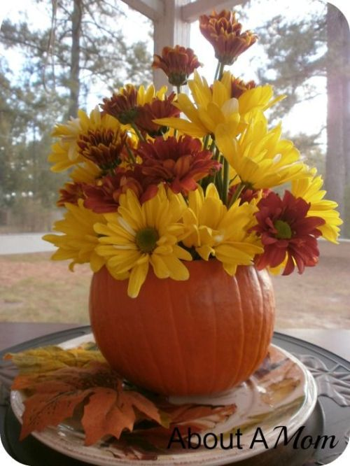 Autumn decor to brighten your home yourtablecloth for Simple pumpkin centerpieces