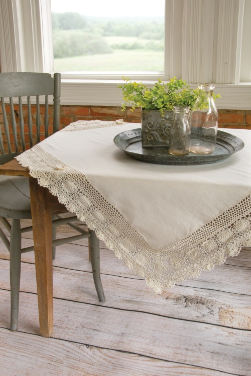 blue ribbon crochet table topper