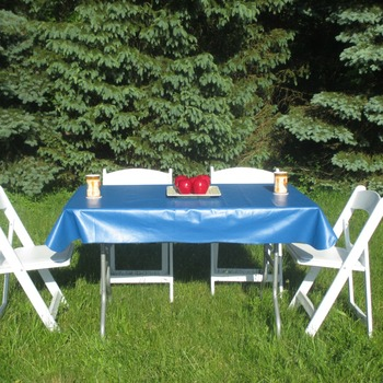Royal blue vinyl tablelcoth