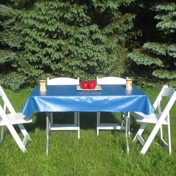 Royal blue vinyl tablelcoth