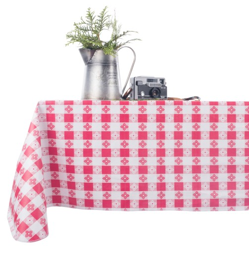vinyl checkered tablecloth red and white